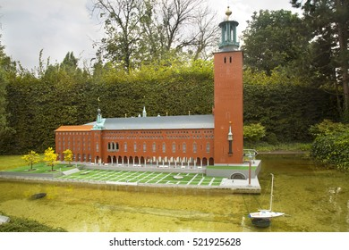 BRUSSELS, BELGIUM, 14 AUGUST 2016. Miniature Stockholm City Hall of Sweden at the park Mini Europe.