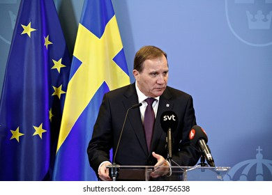 Brussels, Belgium. 14th Dec. 2018. Prime Minister of Sweden, Stefan Lofven a speaks during a press conference following the EU leaders summit.