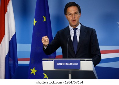 Brussels, Belgium. 14th Dec. 2018. Prime Minister of Netherlands,  Mark Rutte  speaks during a press conference following the EU leaders summit.