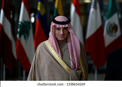 Brussels, Belgium. 14th March 2019. Saudi Arabia Foreign Minister Adel al-Jubeir   arrives to attend in international conference on the future of Syria and the region.