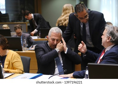 Brussels, Belgium. 14th May 2019. Greek Defense Minister Evangelos Apostolakis attends in meeting of EU defense ministers at the EU headquarters.