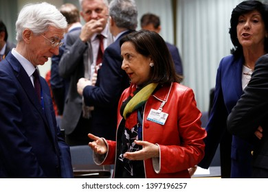 Brussels, Belgium. 14th May 2019. Spanish Defense Minister Margarita Robles attends in meeting of EU defense ministers at the EU headquarters.