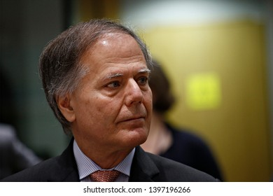 Brussels, Belgium. 14th May 2019. Italian Minister Enzo Moavero Milanesi attends in meeting of EU defense ministers at the EU headquarters.