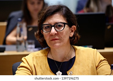 Brussels, Belgium. 14th May 2019. Italian Defense Minister Elisabetta Trenta  attends in meeting of EU defense ministers at the EU headquarters.