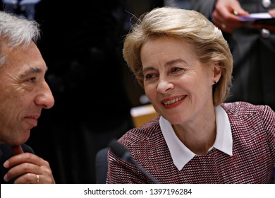 Brussels, Belgium. 14th May 2019. German Defense Minister Ursula von der Leyen attends in meeting of EU defense ministers at the EU headquarters.