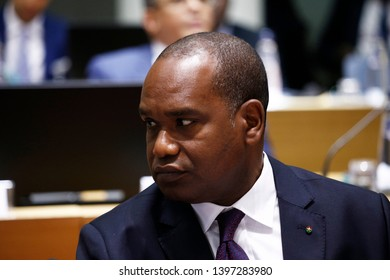 Brussels, Belgium. 14th May 2019. Minister of Burkina Faso Alpha Barry  attends in meeting of EU defense ministers at the EU headquarters.