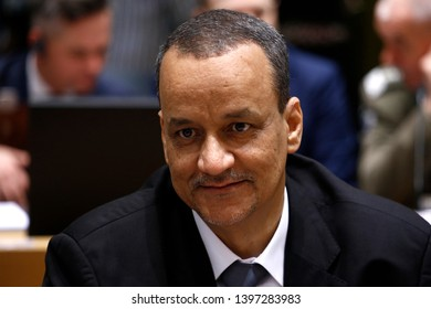 Brussels, Belgium. 14th May 2019. Minister of Defense of Mauritania Yahya Ould Hademine  attends in meeting of EU defense ministers at the EU headquarters.