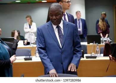 Brussels, Belgium. 14th May 2019. Minister of Nigeria Kalla Ankourao  attends in meeting of EU defense ministers at the EU headquarters.
