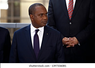 Brussels, Belgium. 14th May 2019. Defence Minister of Burkina Faso, Alpha Barry attends in meeting of EU defense ministers and their counterparts of the G5 Sahel at the EU headquarters.