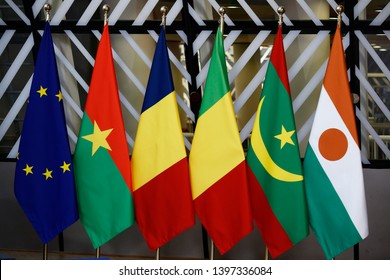 Brussels, Belgium. 14th May 2019. Interior view of EU Council during  EU/G5 Sahel Foreign Affairs and Defense meeting in Brussels, Belgium