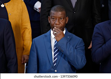 Brussels, Belgium. 14th May 2019. Defence Minister of Mali, Ibrahima Dahirou DEMBELE attends in meeting of EU defense ministers and their counterparts of the G5 Sahel at the EU headquarters.