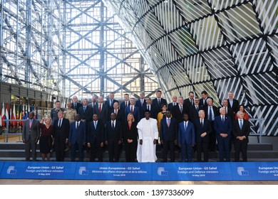 Brussels, Belgium. 14th May 2019. European Union foreign and defence ministers and their counterparts of the G5 Sahel   pose for a family photo.