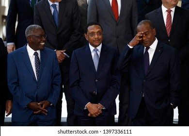 Brussels, Belgium. 14th May 2019. Defence Minister of Chad, Mahamat Zene Cherif attends in meeting of EU defense ministers and their counterparts of the G5 Sahel at the EU headquarters.