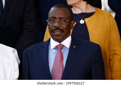 Brussels, Belgium. 14th May 2019. Defence Minister of Nigeria, Kalla Moutari attends in meeting of EU defense ministers and their counterparts of the G5 Sahel at the EU headquarters.
