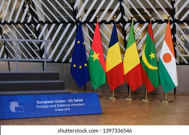 Brussels, Belgium. 14th May 2019. Interior view of EU Council during  EU/G5 Sahel Foreign Affairs and Defense meeting.