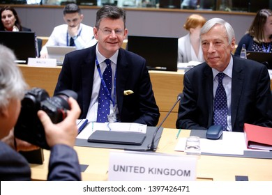 Brussels, Belgium. 14th May 2019. UK Minister of State for Defence Frederick Curzon in meeting of EU defense ministers at the EU headquarters.