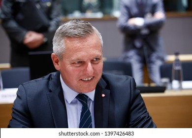 Brussels, Belgium. 14th May 2019. Austrian Defense minister Mario Kunasek attends in meeting of EU defense ministers at the EU headquarters.