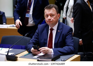 Brussels, Belgium. 14th May 2019. Polish minister Mariusz Błaszczak attends in meeting of EU defense ministers at the EU headquarters.