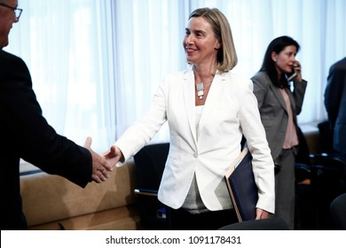 Brussels, Belgium, 15 May 2018.Head of European Union (EU) diplomacy, Federica Mogherini , meets with Cuban Foreign Minister Bruno Rodriguez.