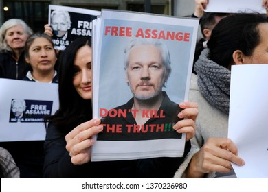 Brussels, Belgium. 15th April 2019.Supporters of WikiLeaks founder Julian Assange rally outside of British Embassy .