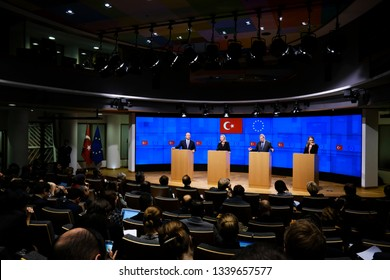 Brussels, Belgium. 15th March 2019.Turkish Foreign Minister Mevlut Cavusoglu and High Representative of the EU  Federica Mogherini hold a joint press conference after EU-Turkey Association Council