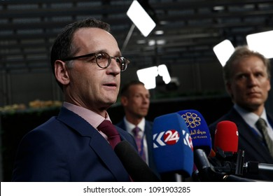 Brussels, Belgium. 15th May 2018. Heiko Maas, Foreign Minister of Germany arrives at a meeting on Iran Nuclear deal.