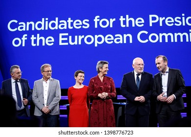Brussels, Belgium. 15th May 2019. The candidates to the presidency of the Commission pose on stage prior to a debate at the European Parliament.