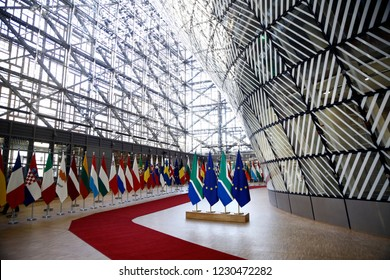 Brussels, Belgium. 15th November 2018. Flags of South Africa and flags of European Union stand in  European Council Offices.