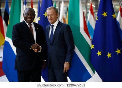 Brussels, Belgium. 15th November 2018. South African President Cyril Ramaphosa welcomed by European Council President Donald Tusk in European Council Offices.