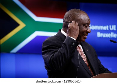 Brussels, Belgium. 15th November 2018. South African President Cyril Ramaphosa gives a press conference on results of EU-South Africa summit.