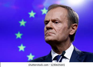 Brussels, Belgium. 15th November 2018. EU Council President Donald Tusk gives a press conference on results of EU-South Africa summit.