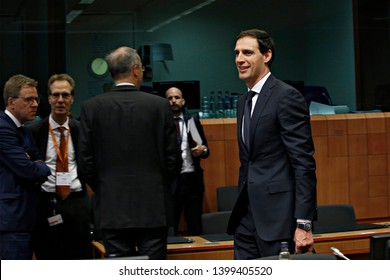 Brussels, Belgium. 16th May 2019. Dutch Finance Minister Wopke Hoekstra  arrives to attend in the Eurogroup Finance Ministers' meeting.