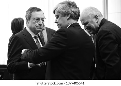 Brussels, Belgium. 16th May 2019. President of the European Central Bank, Mario Draghi  arrives to attend in the Eurogroup Finance Ministers' meeting.