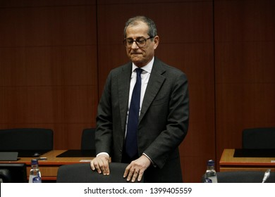 Brussels, Belgium. 16th May 2019. Italian Minister of Economy and Finance Giovanni Tria arrives to attend in the Eurogroup Finance Ministers' meeting.