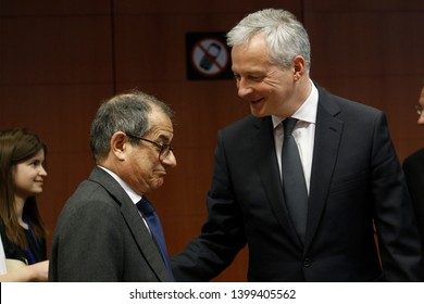Brussels, Belgium. 16th May 2019. French Economy, Finance Trade Minister Bruno Le Maire  arrives to attend in the Eurogroup Finance Ministers' meeting.