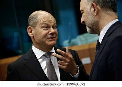 Brussels, Belgium. 16th May 2019. Finance Minister of Germany Olaf Scholz   arrives to attend in the Eurogroup Finance Ministers' meeting.