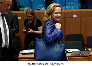 Brussels, Belgium. 16th May 2019. Spanish Finance minister Nadia Calvino arrives to attend in the Eurogroup Finance Ministers' meeting.