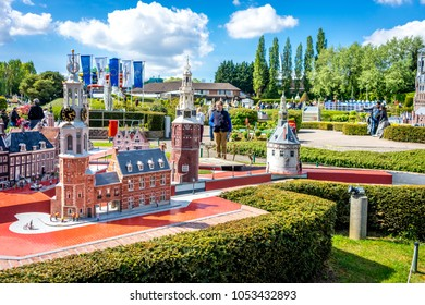 BRUSSELS, BELGIUM - 17 April 2017: Miniatures at the park Mini-Europe - reproduction of the Doelenkade house in Hoorn, Netherlands, Europe