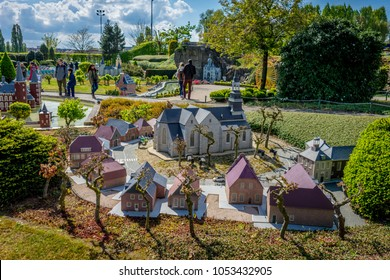 BRUSSELS, BELGIUM - 17 April 2017: Miniatures at the park Mini-Europe - reproduction of the old drentish esdorp in Orvelte, Netherlands