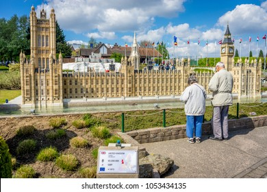 BRUSSELS, BELGIUM - 17 April 2017: Miniatures at the park Mini-Europe - reproduction of the the Westminister palace in London, UK, Europe