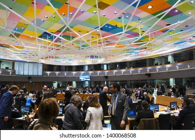 Brussels, Belgium. 17th May 2019. Meeting of EU economic and financial ministers at the European Council headquarters.
