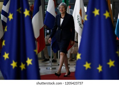 Brussels, Belgium. 17th Oct 2018 .Prime Minister of the UK, Theresa May arrives for a meeting with European Union leaders.