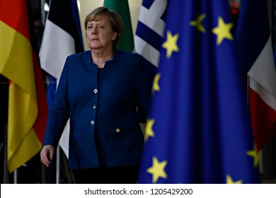 Brussels, Belgium. 17th Oct 2018 .Chancellor of Germany Angela Merkel  arrives for a meeting with European Union leaders.