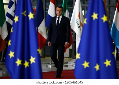 Brussels, Belgium. 17th Oct 2018 .French President Emmanuel Macron arrives for a meeting with European Union leaders.