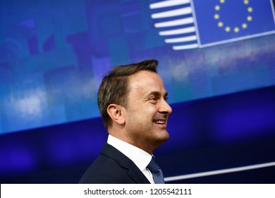 Brussels, Belgium. 17th Oct 2018 . Prime Minister of Luxembourg, Xavier Bettel  arrives for a meeting with European Union leaders.