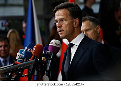 Brussels, Belgium. 17th Oct 2018 . Prime Minister of Netherlands,  Mark Rutte  arrives for a meeting with European Union leaders.