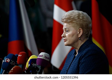 Brussels, Belgium. 17th Oct 2018 . President of Lithuania, Dalia Grybauskaite   arrives for a meeting with European Union leaders.