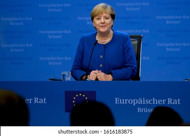 Brussels, Belgium. 17th Oct. 2019. Angela Merkel, Chancellor of Germany gives  a media conference at the conclusion of an EU summit.