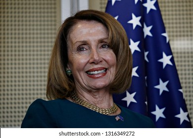 Brussels, Belgium. 18th Feb.  2019. President of the European Commission Jean-Claude Juncker meets with a Speaker of the United States House of Representatives Nancy Pelosi.