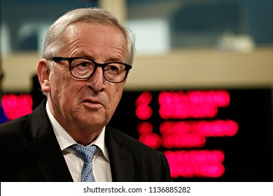 Brussels, Belgium. 18th July 2018.EU Commission President Jean-Claude Juncker speaks during a joint news conference with EU Investment Bank President Werner Hoyer